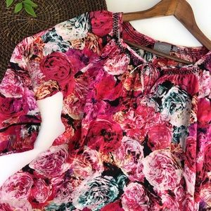 Anthro Vanessa Virginia Silk Floral Blouse Small